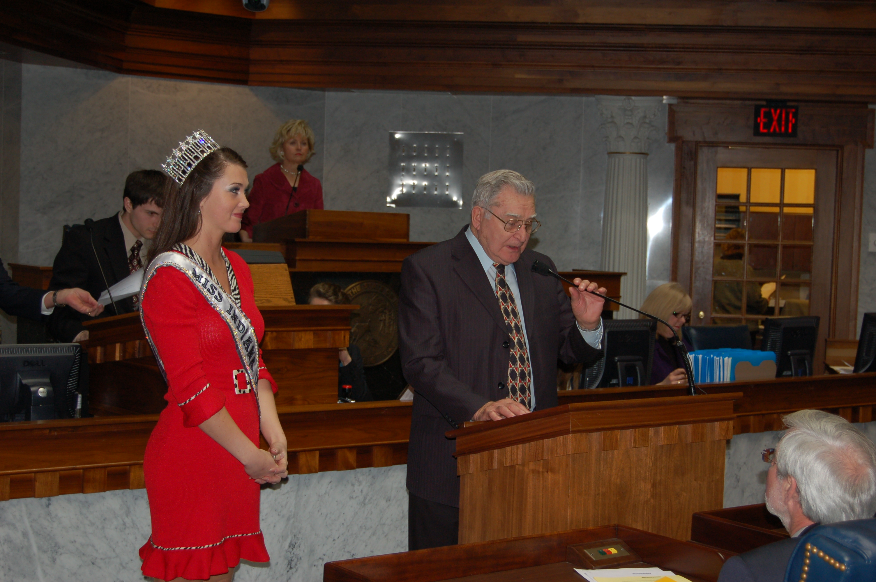 Senator Jim Lewis honor Miss Indiana USA