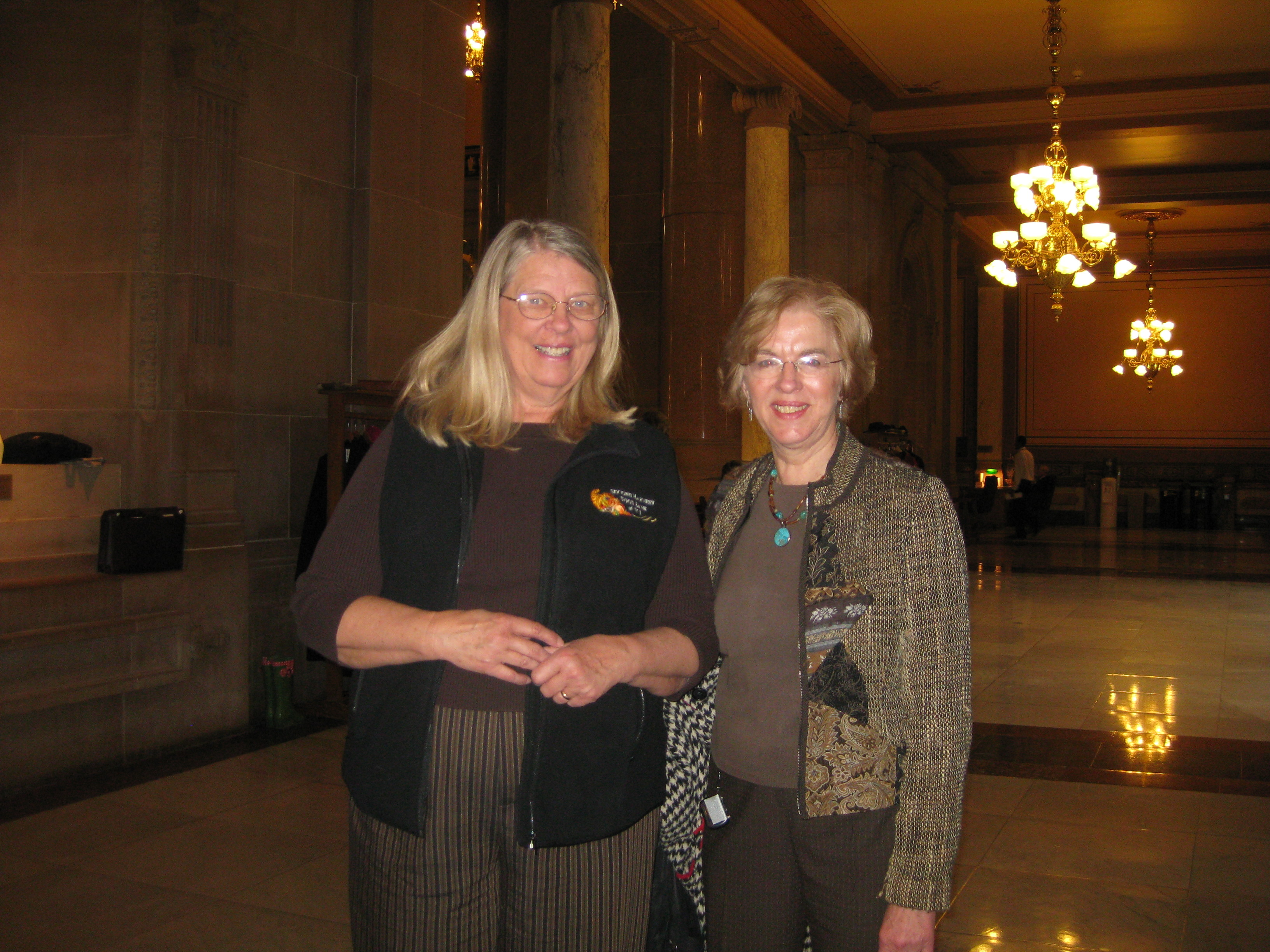 Lois Rockhill of Second Harvest Food Bank of East Central Indiana with State Sen. Sue Errington of Muncie