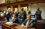 Members of the Senate Democrat Caucus during Organization Day.