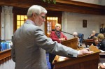 Senator Tim Lanane (D-Anderson) questions Senator Karen Tallian (D-Portage) over an amendment to enact Right to Work in Indiana