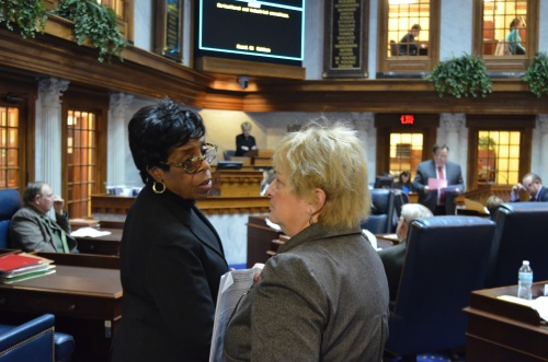 Sen. Tallian & Sen. Rogers on the Senate floor.
