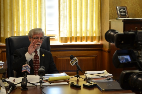 Sen. Lanane speaks during a press conference on the state's budget proposal.