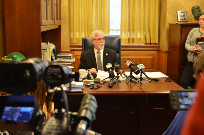 Senator Lanane recaps this year's legislative session during a press conference in his office on Friday morning.